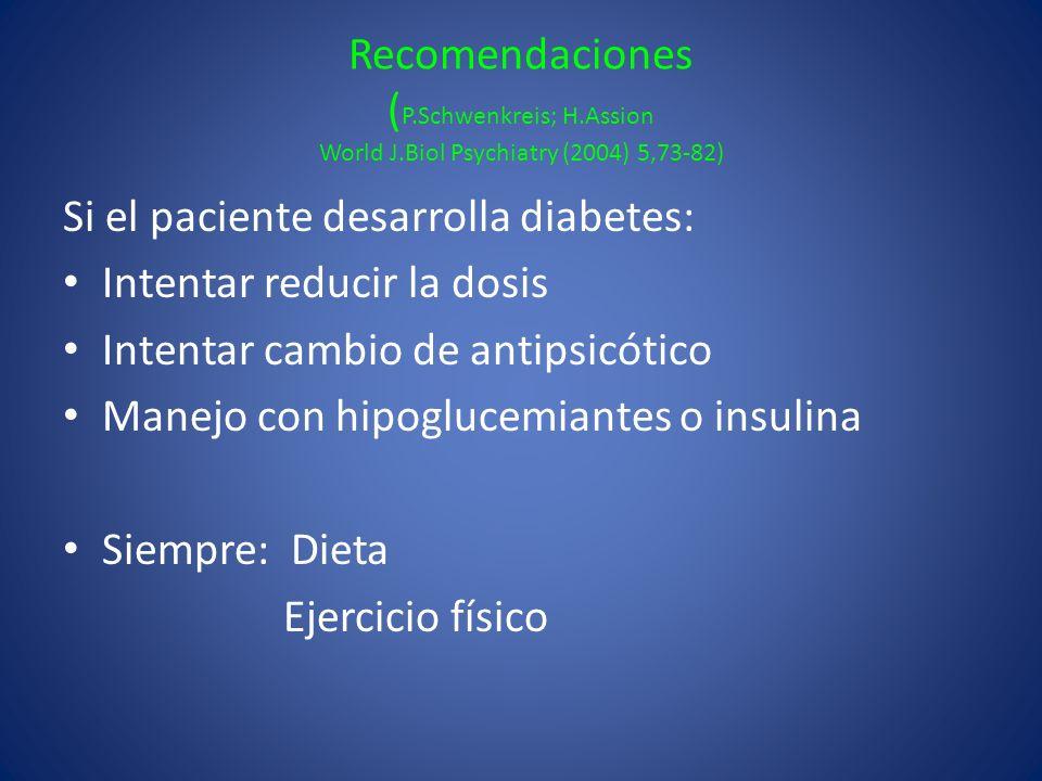 Recomendaciones ( P.Schwenkreis; H.Assion World J.Biol Psychiatry (2004) 5,73-82) Si el paciente desarrolla diabetes: Intentar reducir la dosis Intent