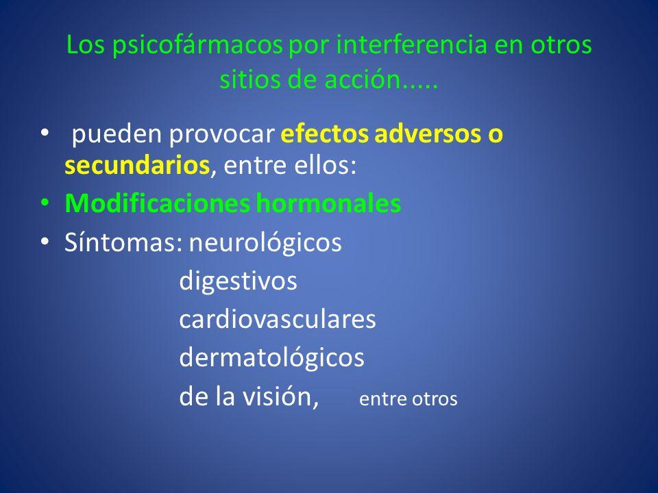Los psicofármacos por interferencia en otros sitios de acción..... pueden provocar efectos adversos o secundarios, entre ellos: Modificaciones hormona