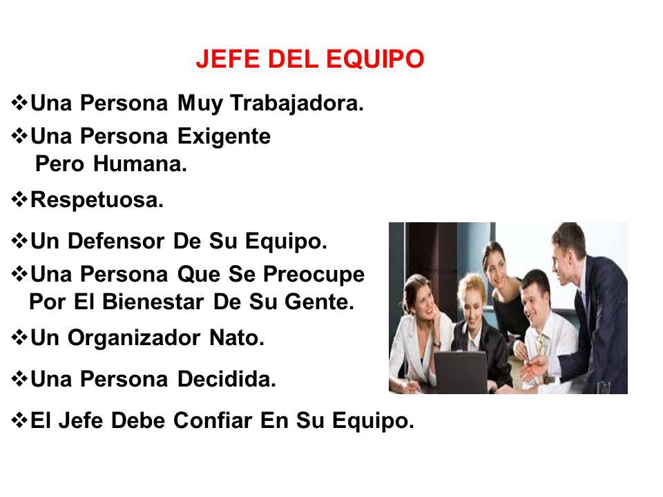 JEFE DEL EQUIPO Una Persona Muy Trabajadora.Una Persona Exigente Pero Humana.