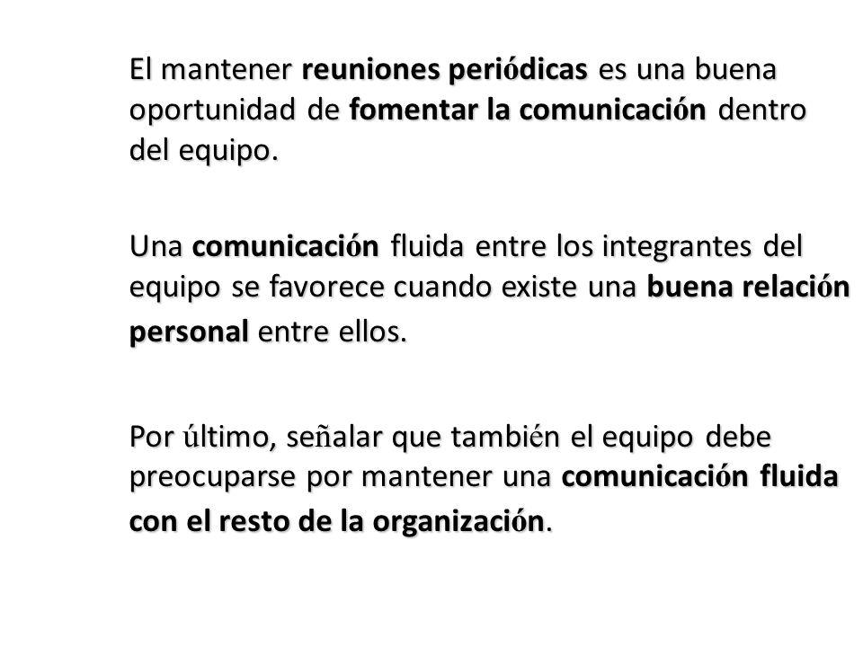 El mantener reuniones peri ó dicas es una buena oportunidad de fomentar la comunicaci ó n dentro del equipo.