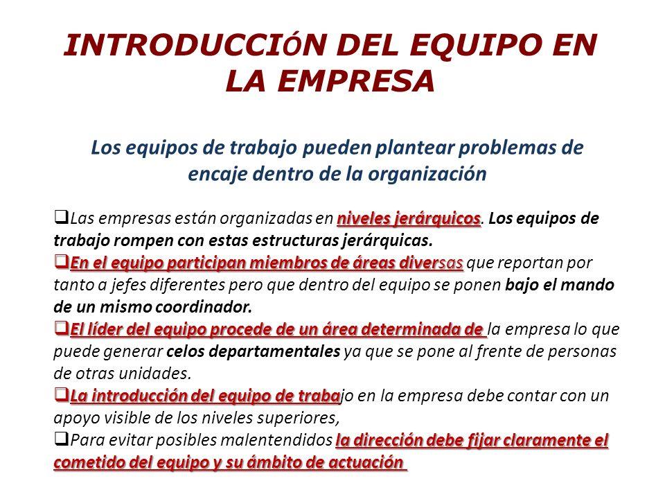INTRODUCCI Ó N DEL EQUIPO EN LA EMPRESA Los equipos de trabajo pueden plantear problemas de encaje dentro de la organización niveles jerárquicos Las empresas están organizadas en niveles jerárquicos.