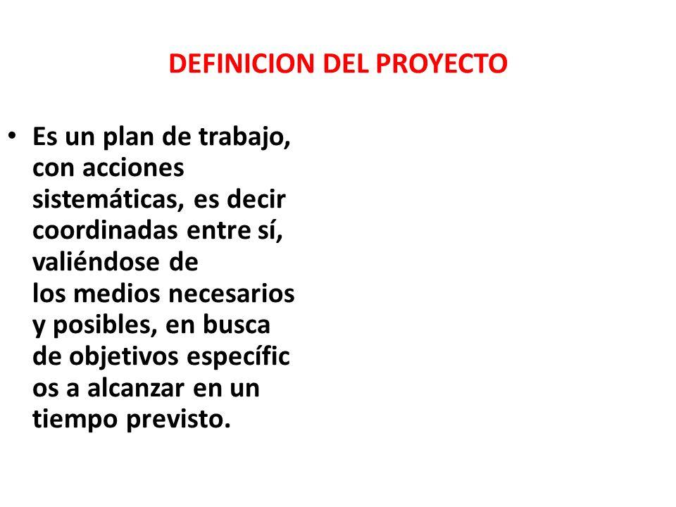 DEFINICION DEL PROYECTO Es un plan de trabajo, con acciones sistemáticas, es decir coordinadas entre sí, valiéndose de los medios necesarios y posibles, en busca de objetivos específic os a alcanzar en un tiempo previsto.