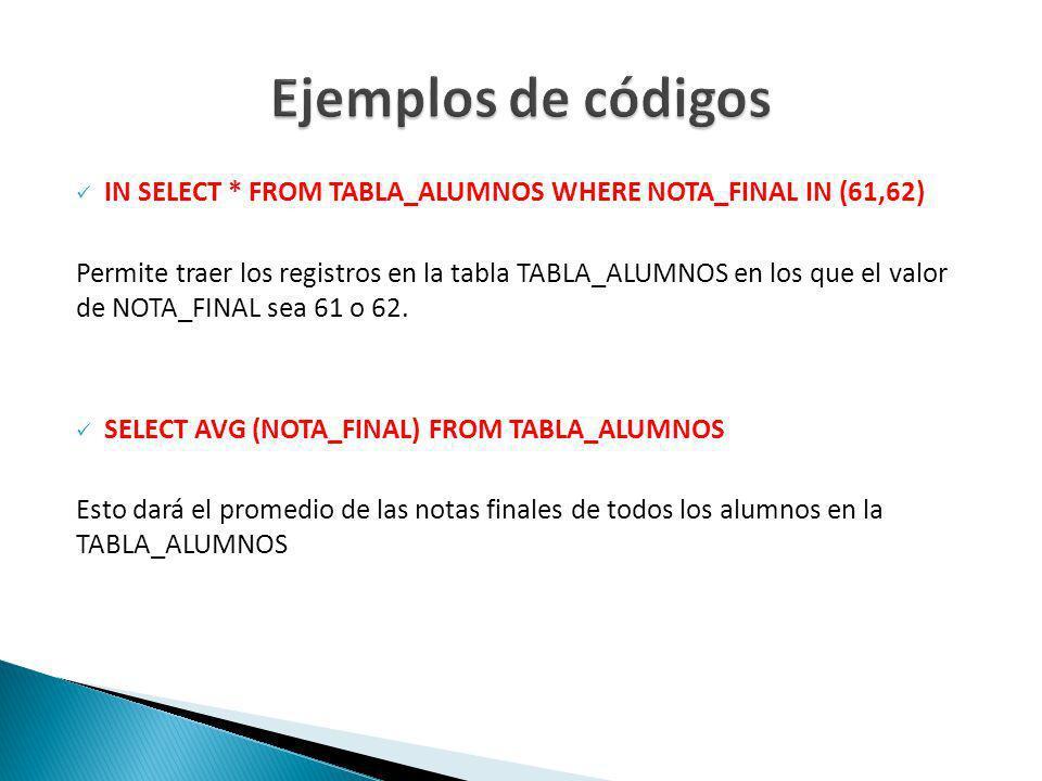 IN SELECT * FROM TABLA_ALUMNOS WHERE NOTA_FINAL IN (61,62) Permite traer los registros en la tabla TABLA_ALUMNOS en los que el valor de NOTA_FINAL sea