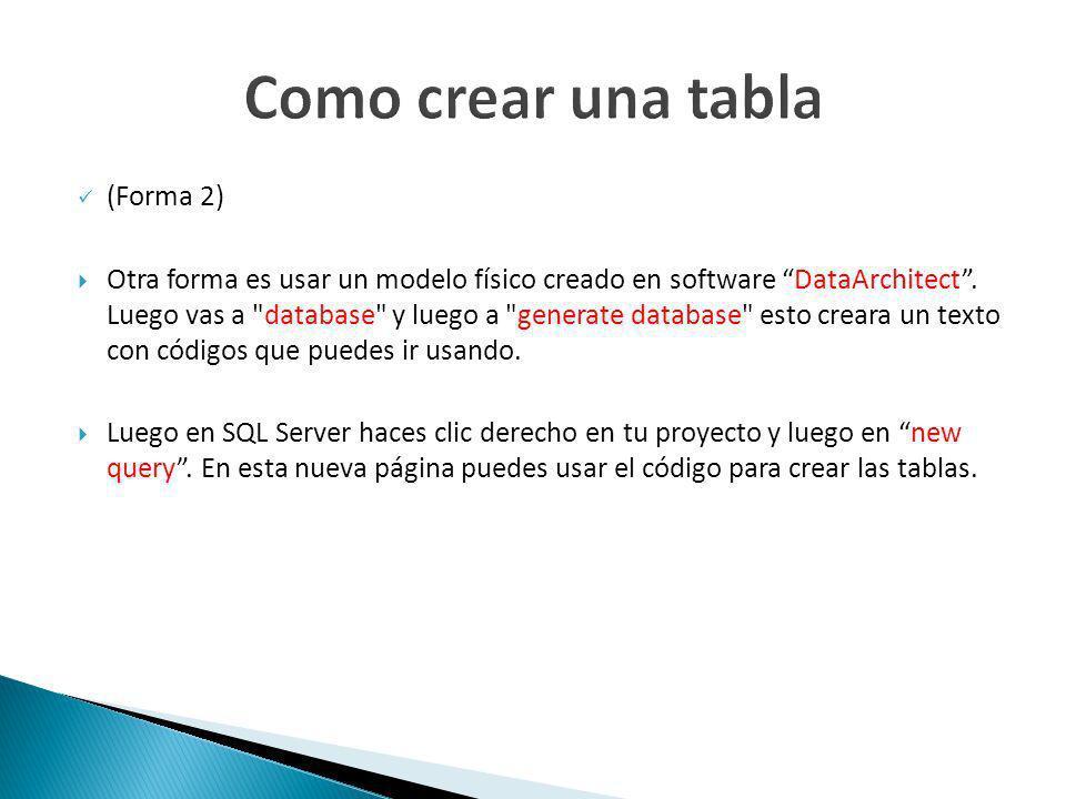 (Forma 2) Otra forma es usar un modelo físico creado en software DataArchitect.