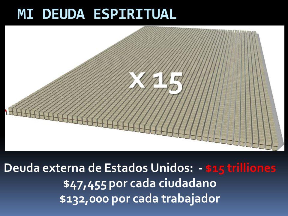 MI DEUDA ESPIRITUAL Deuda externa de Estados Unidos: - $15 trilliones $47,455 por cada ciudadano $132,000 por cada trabajador x 15