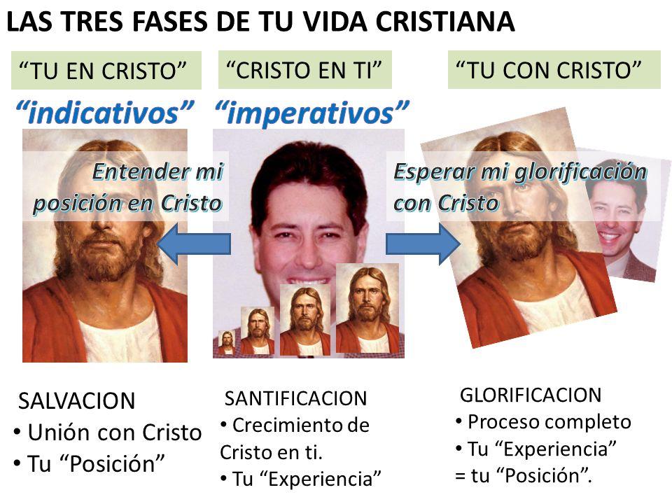 TU EN CRISTO CRISTO EN TITU CON CRISTO SALVACION Unión con Cristo Tu Posición SANTIFICACION Crecimiento de Cristo en ti. Tu Experiencia GLORIFICACION