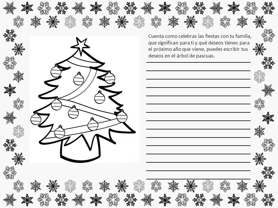 Cuenta como celebras las fiestas con tu familia, que significan para ti y qué deseos tienes para el próximo año que viene, puedes escribir tus deseos