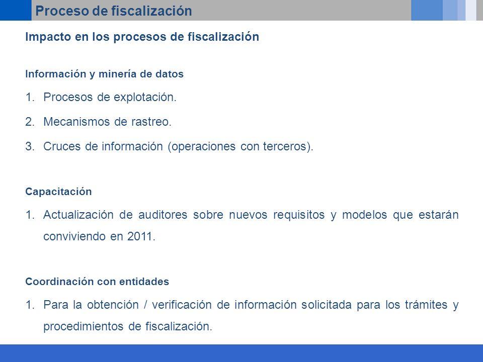 Proceso de fiscalización Impacto en los procesos de fiscalización Información y minería de datos 1.Procesos de explotación.