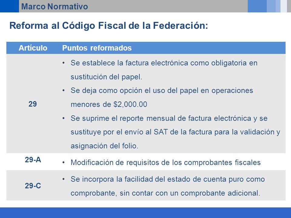 Reforma al Código Fiscal de la Federación: Marco Normativo ArtículoPuntos reformados 29 Se establece la factura electrónica como obligatoria en sustitución del papel.