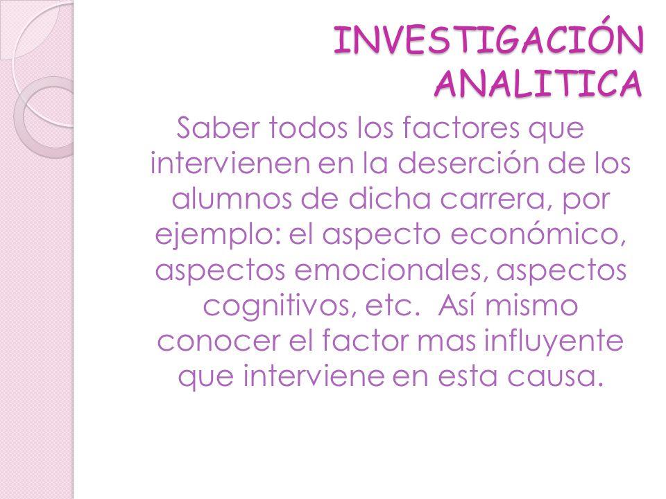 INVESTIGACIÓN ANALITICA Saber todos los factores que intervienen en la deserción de los alumnos de dicha carrera, por ejemplo: el aspecto económico, a