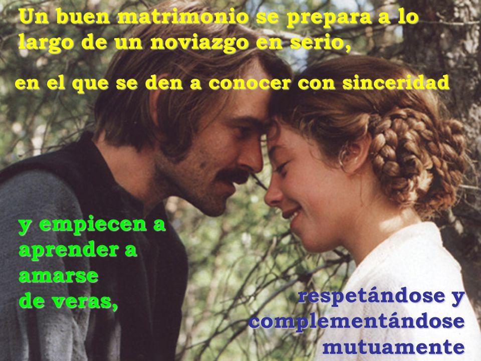 Un buen matrimonio se prepara a lo largo de un noviazgo en serio, en el que se den a conocer con sinceridad respetándose y complementándose mutuamente