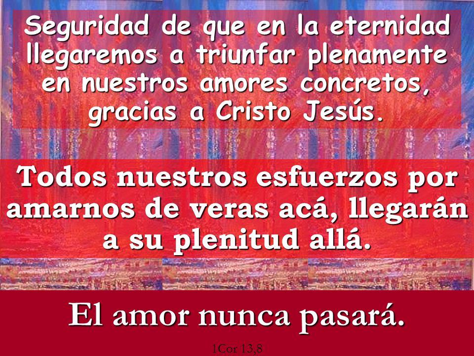 Seguridad de que en la eternidad llegaremos a triunfar plenamente en nuestros amores concretos, gracias a Cristo Jesús. Todos nuestros esfuerzos por a