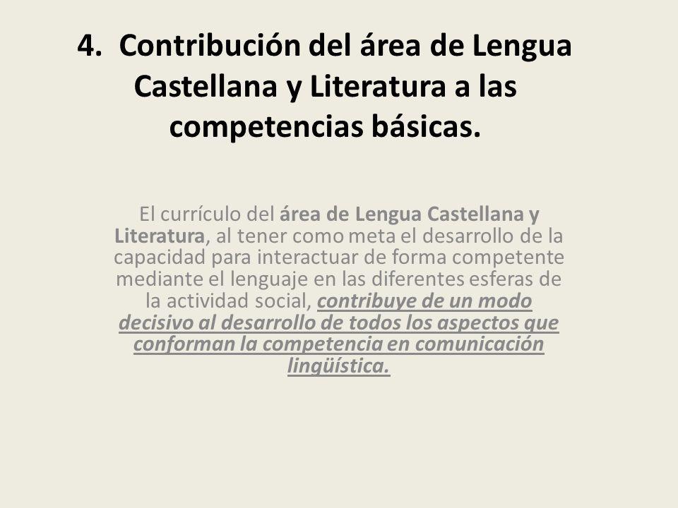 4. Contribución del área de Lengua Castellana y Literatura a las competencias básicas.