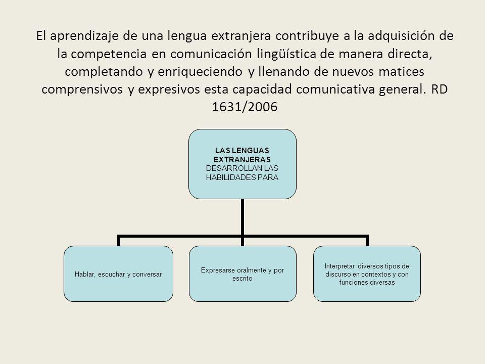 El aprendizaje de una lengua extranjera contribuye a la adquisición de la competencia en comunicación lingüística de manera directa, completando y enriqueciendo y llenando de nuevos matices comprensivos y expresivos esta capacidad comunicativa general.