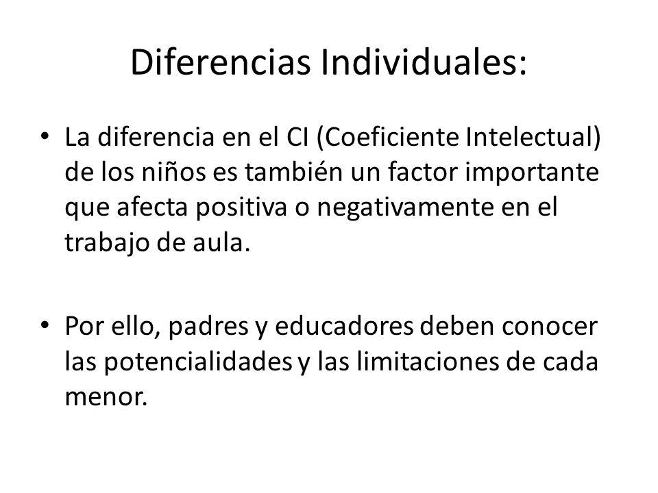 Diferencias Individuales: La diferencia en el CI (Coeficiente Intelectual) de los niños es también un factor importante que afecta positiva o negativamente en el trabajo de aula.
