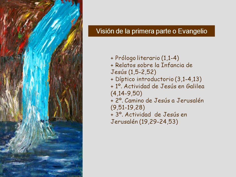 Visión del conjunto + Prólogo literario (1,1-4) + Relatos sobre la Infancia de Jesús (1,5-2,52) + Díptico introductorio (3,1-4,13) + 1º. Actividad de