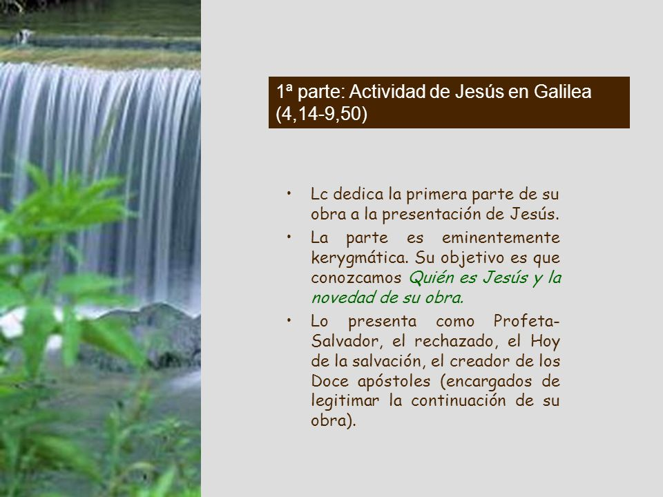 En concreto Juan Iª serie de cuadros: Juan a) la persona de Juan 3,1-6 b) su predicación 3,7-9 c) predicación actualizante 3,10-14 d) anuncia al Mesía