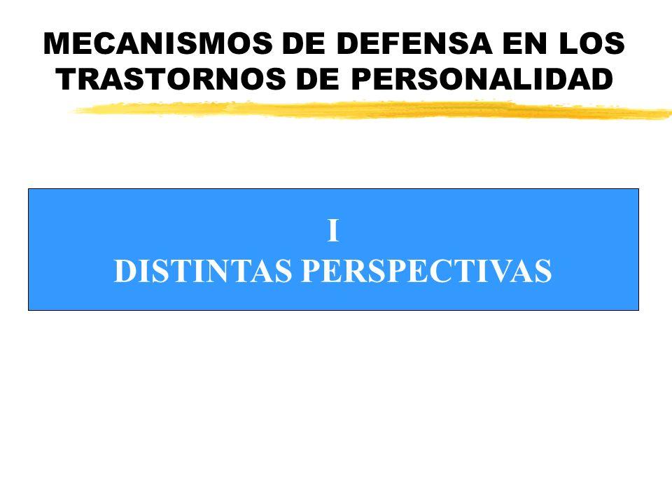MECANISMOS DE DEFENSA EN LOS TRASTORNOS DE PERSONALIDAD I DISTINTAS PERSPECTIVAS