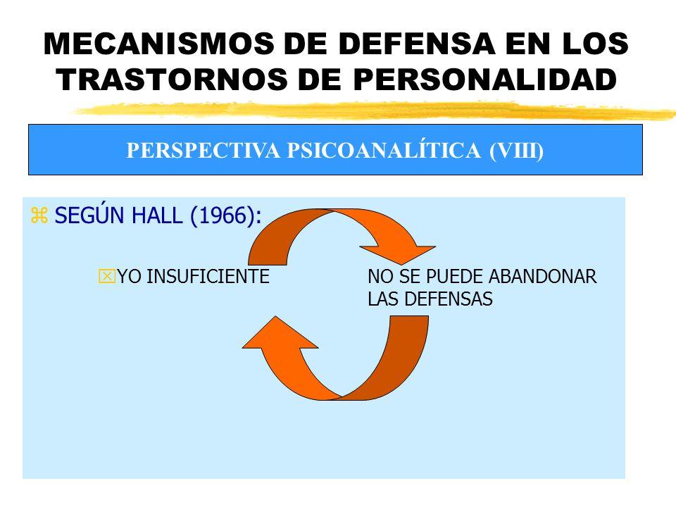 MECANISMOS DE DEFENSA EN LOS TRASTORNOS DE PERSONALIDAD zSEGÚN HALL (1966): xYO INSUFICIENTENO SE PUEDE ABANDONAR LAS DEFENSAS PERSPECTIVA PSICOANALÍTICA (VIII)