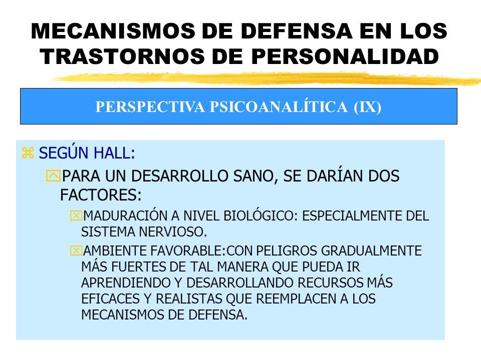 MECANISMOS DE DEFENSA EN LOS TRASTORNOS DE PERSONALIDAD zSEGÚN HALL: yPARA UN DESARROLLO SANO, SE DARÍAN DOS FACTORES: xMADURACIÓN A NIVEL BIOLÓGICO: ESPECIALMENTE DEL SISTEMA NERVIOSO.