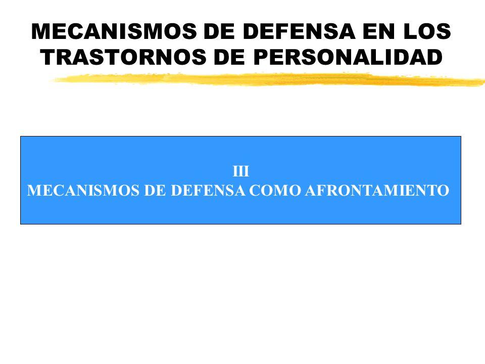 MECANISMOS DE DEFENSA EN LOS TRASTORNOS DE PERSONALIDAD III MECANISMOS DE DEFENSA COMO AFRONTAMIENTO
