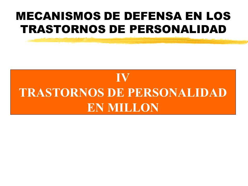 MECANISMOS DE DEFENSA EN LOS TRASTORNOS DE PERSONALIDAD IV TRASTORNOS DE PERSONALIDAD EN MILLON