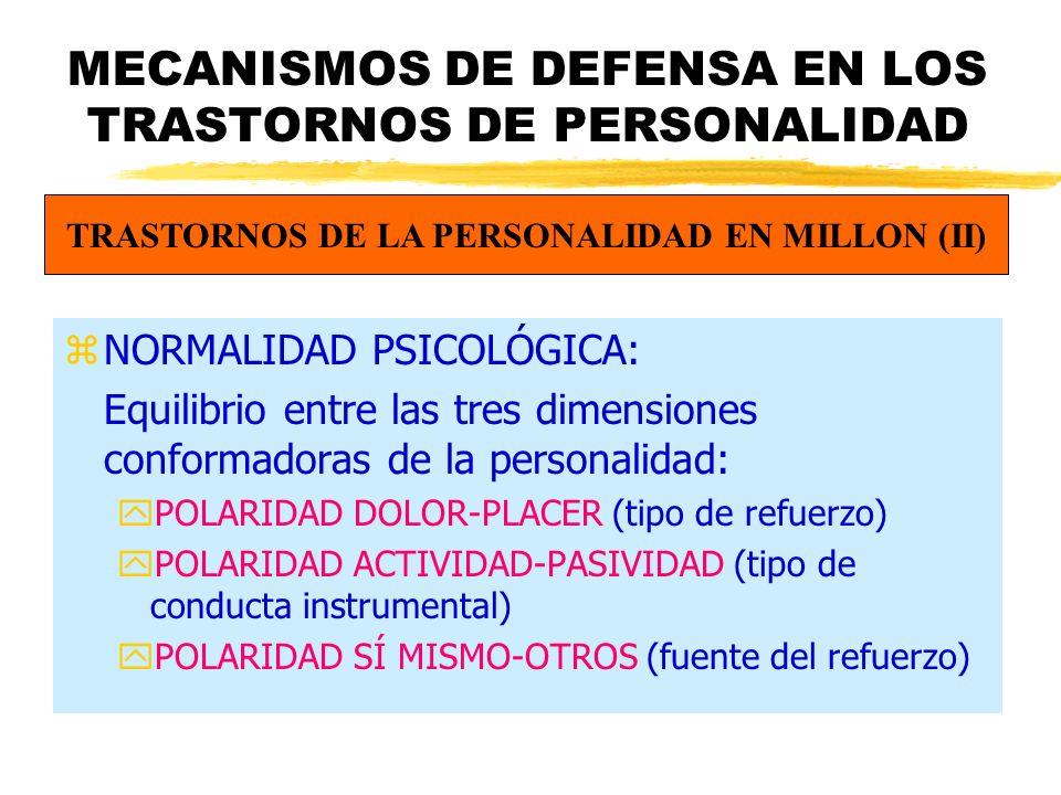 MECANISMOS DE DEFENSA EN LOS TRASTORNOS DE PERSONALIDAD zNORMALIDAD PSICOLÓGICA: Equilibrio entre las tres dimensiones conformadoras de la personalidad: yPOLARIDAD DOLOR-PLACER (tipo de refuerzo) yPOLARIDAD ACTIVIDAD-PASIVIDAD (tipo de conducta instrumental) yPOLARIDAD SÍ MISMO-OTROS (fuente del refuerzo) TRASTORNOS DE LA PERSONALIDAD EN MILLON (II)