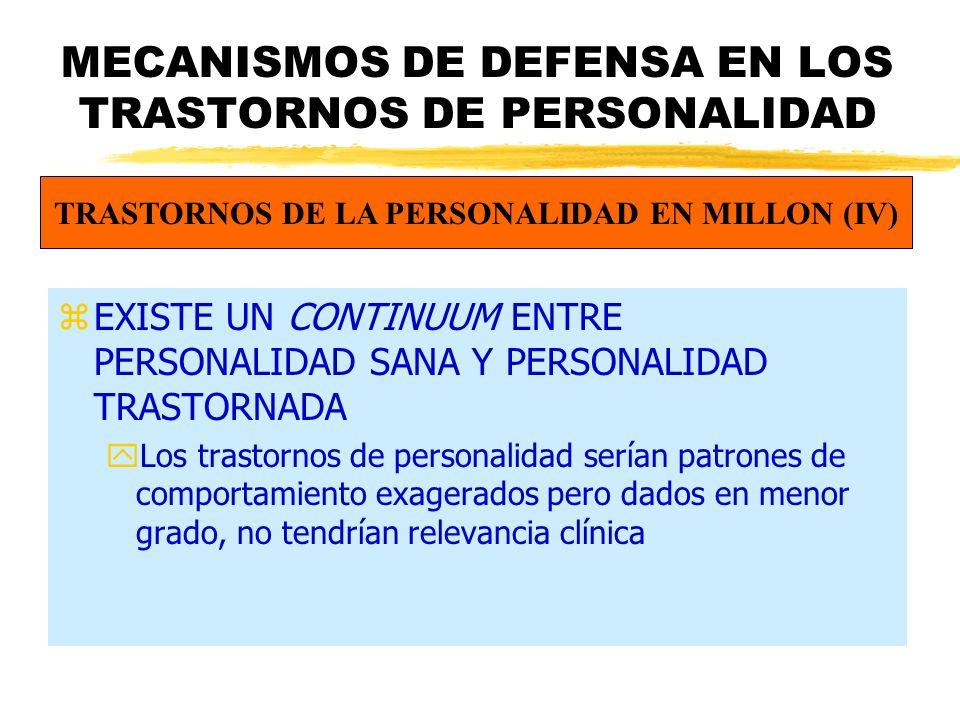 MECANISMOS DE DEFENSA EN LOS TRASTORNOS DE PERSONALIDAD zEXISTE UN CONTINUUM ENTRE PERSONALIDAD SANA Y PERSONALIDAD TRASTORNADA yLos trastornos de personalidad serían patrones de comportamiento exagerados pero dados en menor grado, no tendrían relevancia clínica TRASTORNOS DE LA PERSONALIDAD EN MILLON (IV)