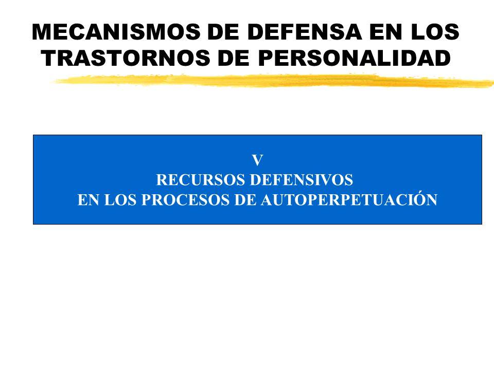 MECANISMOS DE DEFENSA EN LOS TRASTORNOS DE PERSONALIDAD V RECURSOS DEFENSIVOS EN LOS PROCESOS DE AUTOPERPETUACIÓN