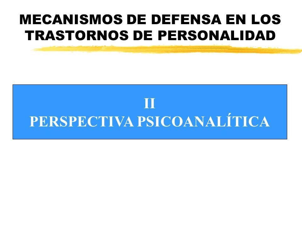 MECANISMOS DE DEFENSA EN LOS TRASTORNOS DE PERSONALIDAD zSURGE EL CONCEPTO DE DEFENSA zEL FUNCIONAMIENTO DE LA PERSONALIDAD SE ENTIENDE A PARTIR DE TRES SISTEMAS: yELLO yYO ySUPERYÓ PERSPECTIVA PSICOANALÍTICA (I)