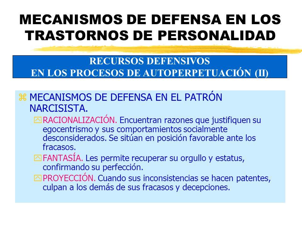 MECANISMOS DE DEFENSA EN LOS TRASTORNOS DE PERSONALIDAD zMECANISMOS DE DEFENSA EN EL PATRÓN NARCISISTA.