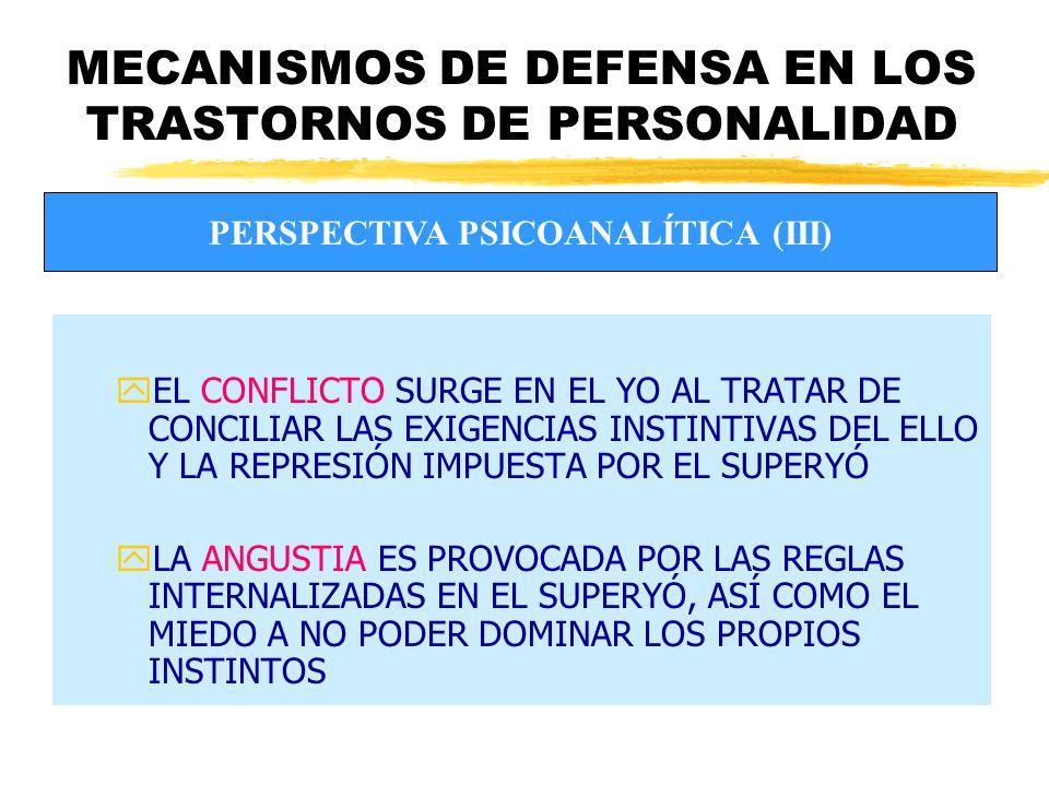 MECANISMOS DE DEFENSA EN LOS TRASTORNOS DE PERSONALIDAD zROGERS: LOS MECANISMOS DE DEFENSA ACTÚAN DISTORSIONANDO EL SIGNIFICADO DE LA EXPERENCIA O NEGÁNDOLA zMASLOW: LOS MECANISMOS DE DEFENSA SUPONEN UN OBSTÁCULO HACIA LA AUTORREALIZACIÓN ENFOQUE HUMANISTA (II)