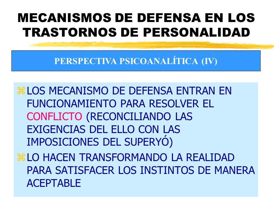 MECANISMOS DE DEFENSA EN LOS TRASTORNOS DE PERSONALIDAD zLOS MECANISMO DE DEFENSA ENTRAN EN FUNCIONAMIENTO PARA RESOLVER EL CONFLICTO (RECONCILIANDO LAS EXIGENCIAS DEL ELLO CON LAS IMPOSICIONES DEL SUPERYÓ) zLO HACEN TRANSFORMANDO LA REALIDAD PARA SATISFACER LOS INSTINTOS DE MANERA ACEPTABLE PERSPECTIVA PSICOANALÍTICA (IV)