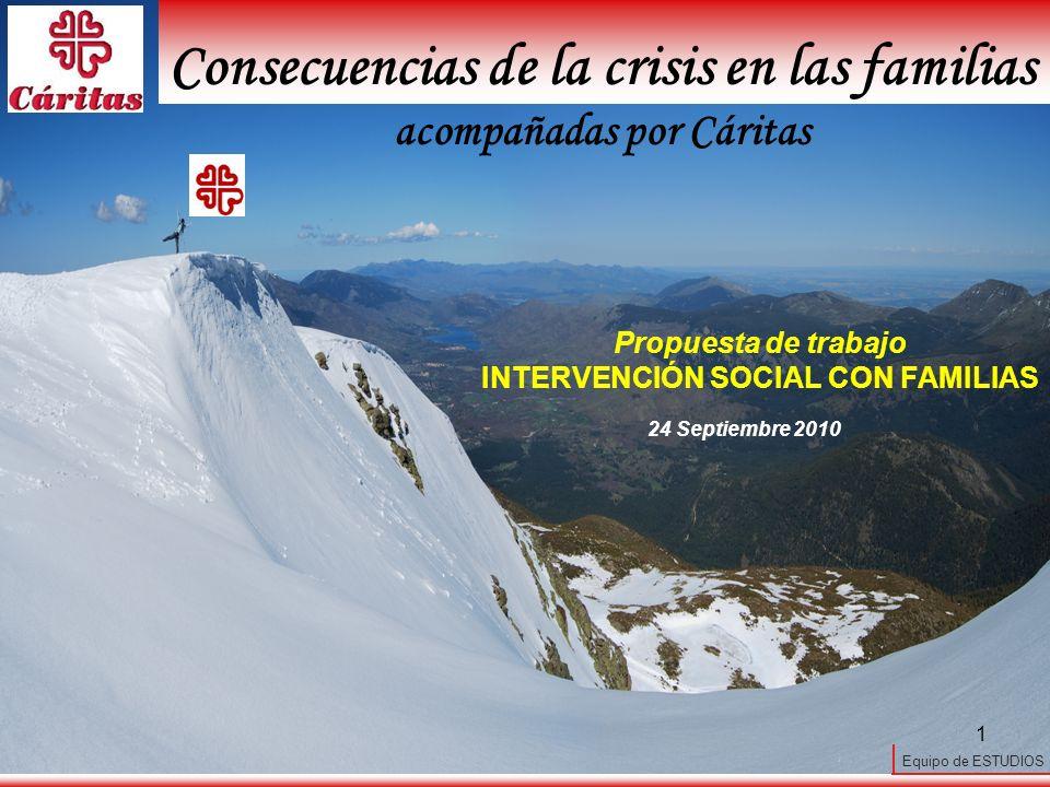 Equipo de ESTUDIOS 1 24 Septiembre 2010 Consecuencias de la crisis en las familias acompañadas por Cáritas Propuesta de trabajo INTERVENCIÓN SOCIAL CON FAMILIAS