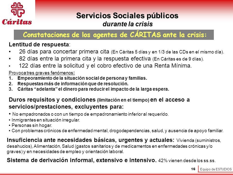 Equipo de ESTUDIOS 16 Servicios Sociales públicos durante la crisis Constataciones de los agentes de CÁRITAS ante la crisis: Lentitud de respuesta: 26