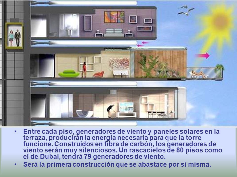 Entre cada piso, generadores de viento y paneles solares en la terraza, producirán la energía necesaria para que la torre funcione.