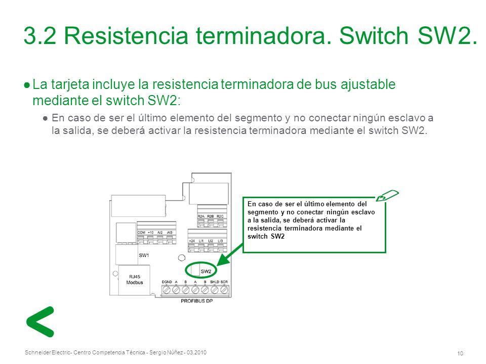 Schneider Electric 10 - Centro Competencia Técnica - Sergio Núñez - 03.2010 3.2 Resistencia terminadora.
