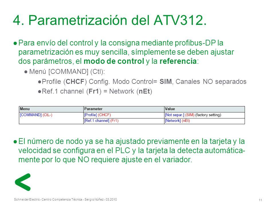 Schneider Electric 11 - Centro Competencia Técnica - Sergio Núñez - 03.2010 Para envío del control y la consigna mediante profibus-DP la parametrización es muy sencilla, símplemente se deben ajustar dos parámetros, el modo de control y la referencia: Menú [COMMAND] (Ctl): Profile (CHCF) Config.