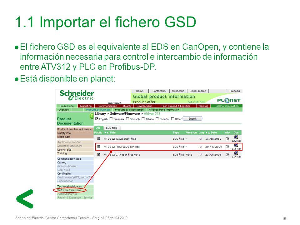 Schneider Electric 15 - Centro Competencia Técnica - Sergio Núñez - 03.2010 1.1 Importar el fichero GSD El fichero GSD es el equivalente al EDS en CanOpen, y contiene la información necesaria para control e intercambio de información entre ATV312 y PLC en Profibus-DP.