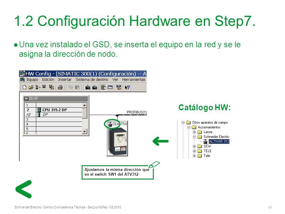 Schneider Electric 17 - Centro Competencia Técnica - Sergio Núñez - 03.2010 1.2 Configuración Hardware en Step7.
