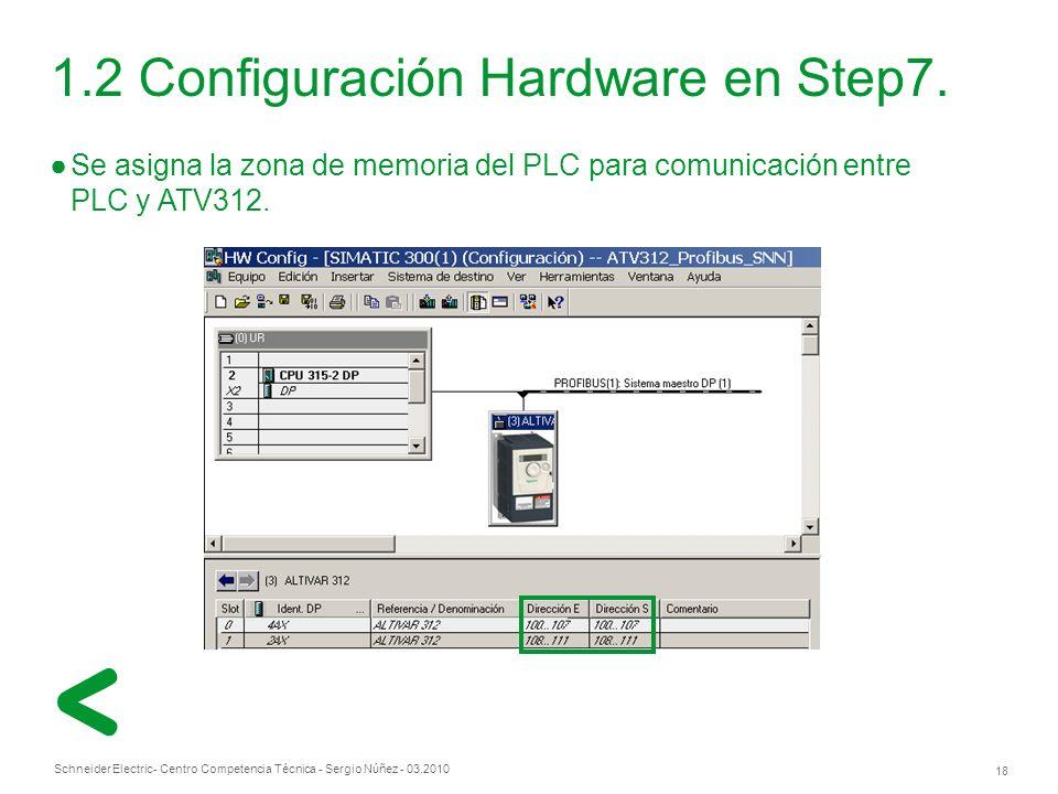 Schneider Electric 18 - Centro Competencia Técnica - Sergio Núñez - 03.2010 1.2 Configuración Hardware en Step7.