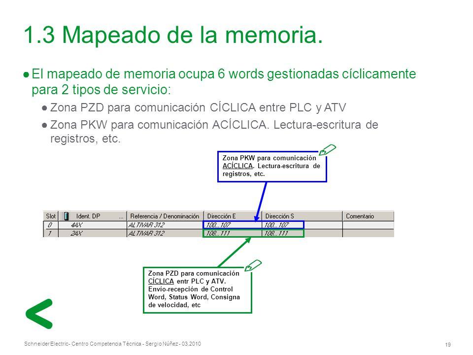 Schneider Electric 19 - Centro Competencia Técnica - Sergio Núñez - 03.2010 El mapeado de memoria ocupa 6 words gestionadas cíclicamente para 2 tipos de servicio: Zona PZD para comunicación CÍCLICA entre PLC y ATV Zona PKW para comunicación ACÍCLICA.