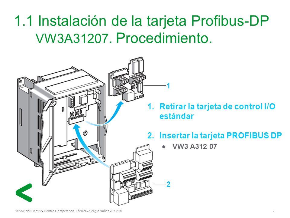 Schneider Electric 4 - Centro Competencia Técnica - Sergio Núñez - 03.2010 1.1 Instalación de la tarjeta Profibus-DP VW3A31207.
