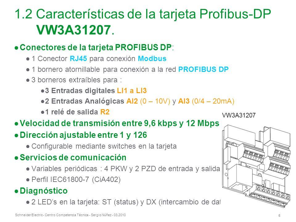 Schneider Electric 5 - Centro Competencia Técnica - Sergio Núñez - 03.2010 Conectores de la tarjeta PROFIBUS DP: 1 Conector RJ45 para conexión Modbus 1 bornero atornillable para conexión a la red PROFIBUS DP 3 borneros extraíbles para : 3 Entradas digitales LI1 a LI3 2 Entradas Analógicas AI2 (0 – 10V) y AI3 (0/4 – 20mA) 1 relé de salida R2 Velocidad de transmisión entre 9,6 kbps y 12 Mbps Dirección ajustable entre 1 y 126 Configurable mediante switches en la tarjeta Servicios de comunicación Variables periódicas : 4 PKW y 2 PZD de entrada y salida Perfil IEC61800-7 (CiA402) Diagnóstico 2 LEDs en la tarjeta: ST (status) y DX (intercambio de datos activo) 1.2 Características de la tarjeta Profibus-DP VW3A31207.