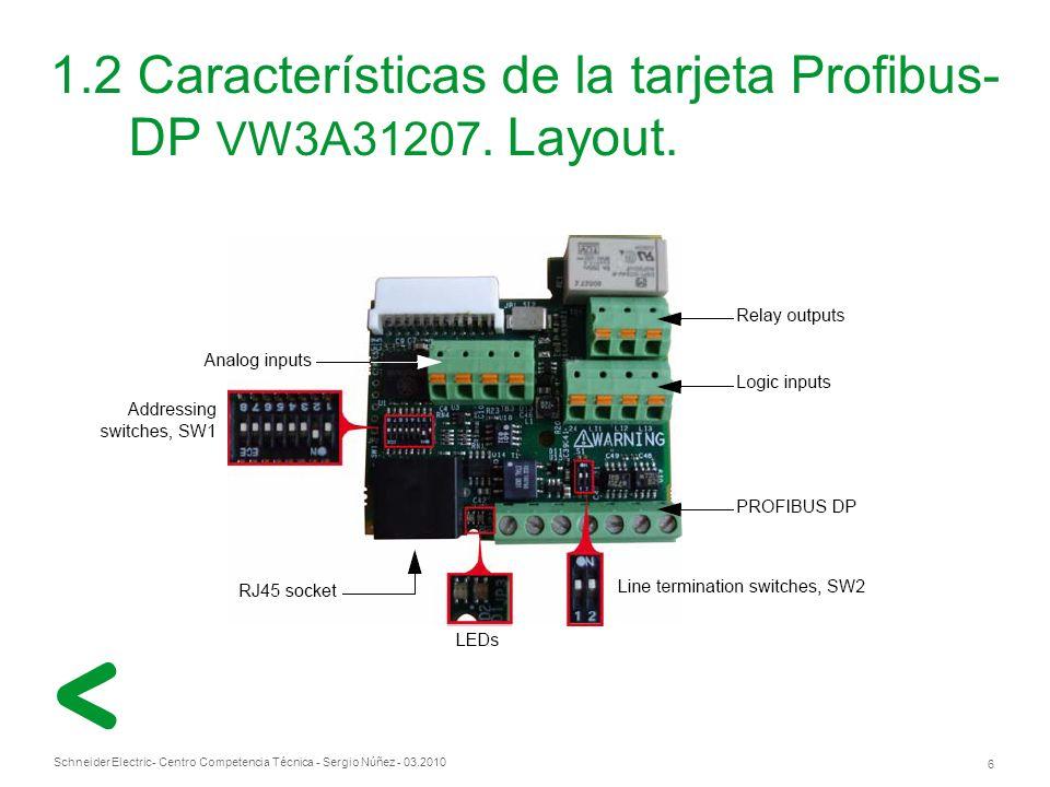Schneider Electric 6 - Centro Competencia Técnica - Sergio Núñez - 03.2010 1.2 Características de la tarjeta Profibus- DP VW3A31207.