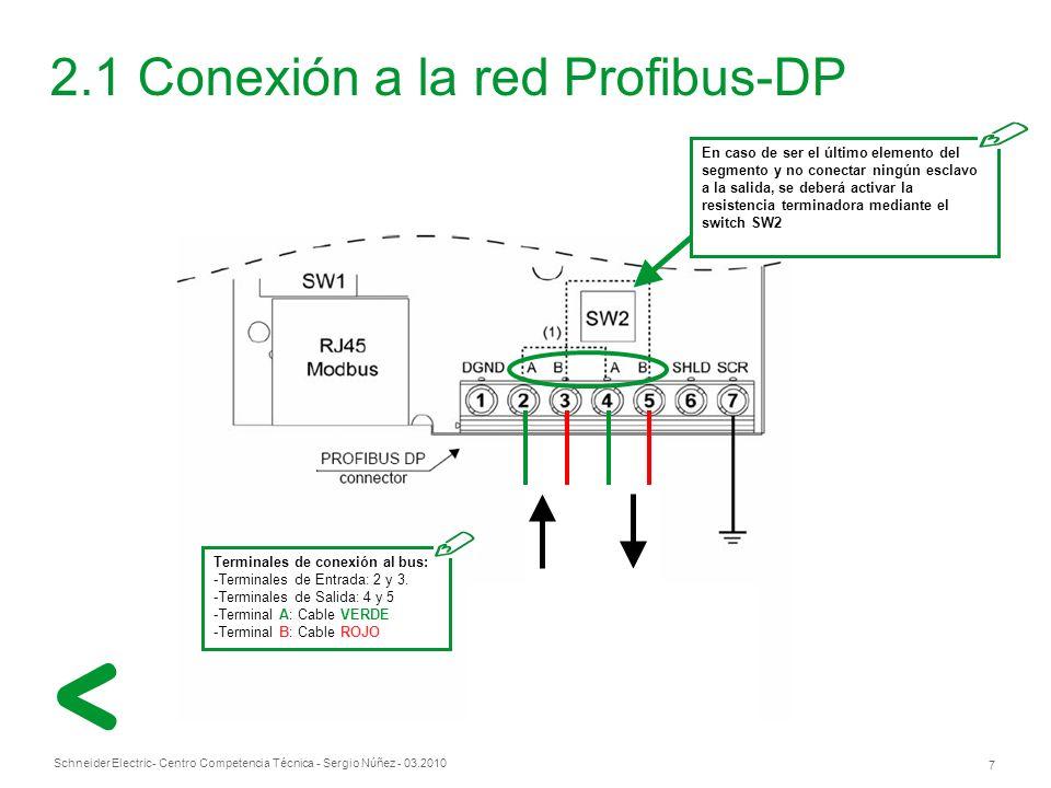 Schneider Electric 7 - Centro Competencia Técnica - Sergio Núñez - 03.2010 2.1 Conexión a la red Profibus-DP Terminales de conexión al bus: -Terminales de Entrada: 2 y 3.