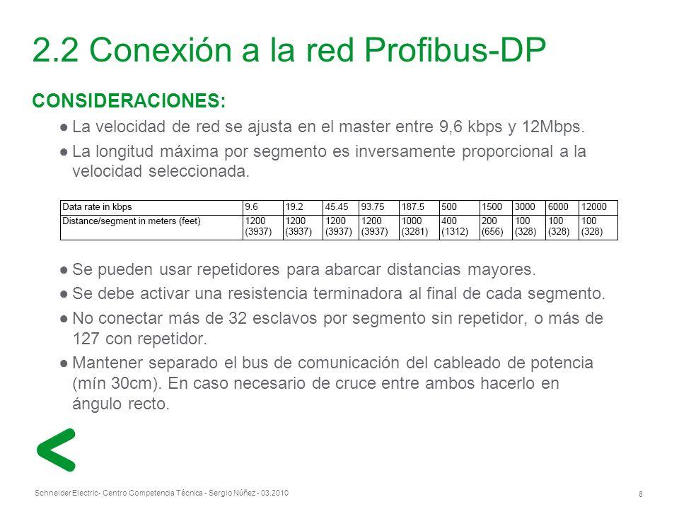 Schneider Electric 8 - Centro Competencia Técnica - Sergio Núñez - 03.2010 2.2 Conexión a la red Profibus-DP CONSIDERACIONES: La velocidad de red se ajusta en el master entre 9,6 kbps y 12Mbps.