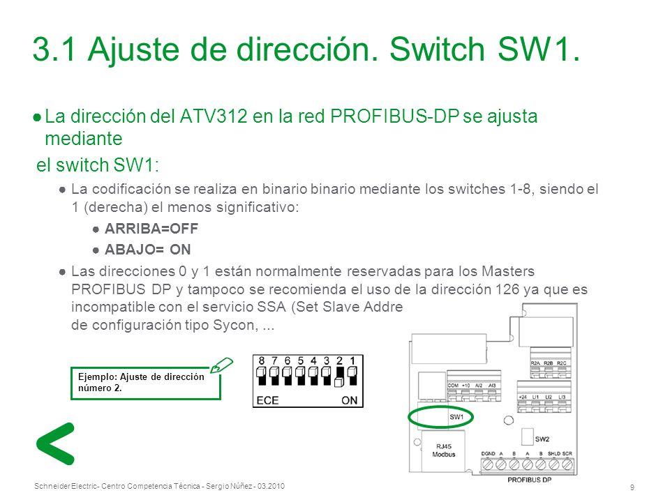 Schneider Electric 9 - Centro Competencia Técnica - Sergio Núñez - 03.2010 3.1 Ajuste de dirección.