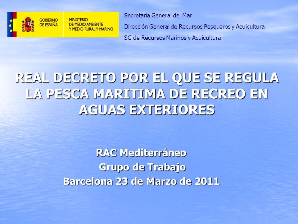 RAC Mediterráneo Grupo de Trabajo Grupo de Trabajo Barcelona 23 de Marzo de 2011 REAL DECRETO POR EL QUE SE REGULA LA PESCA MARITIMA DE RECREO EN AGUA