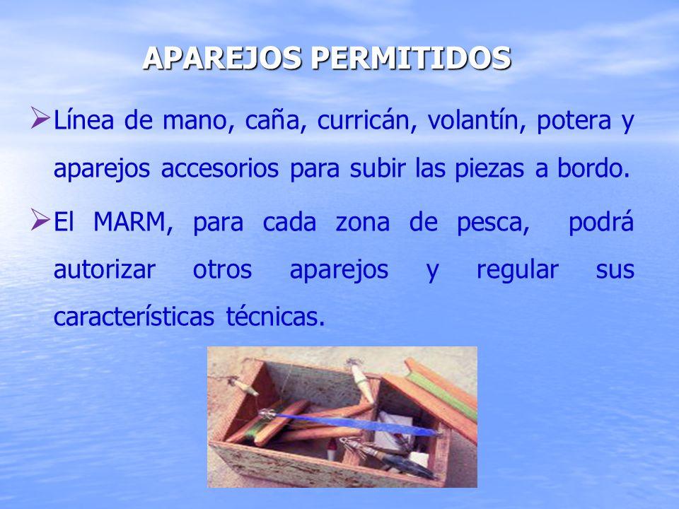 Línea de mano, caña, curricán, volantín, potera y aparejos accesorios para subir las piezas a bordo. El MARM, para cada zona de pesca, podrá autorizar